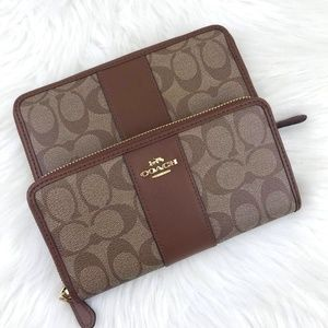Coach Long Zip Wallet Signature Brown Leather